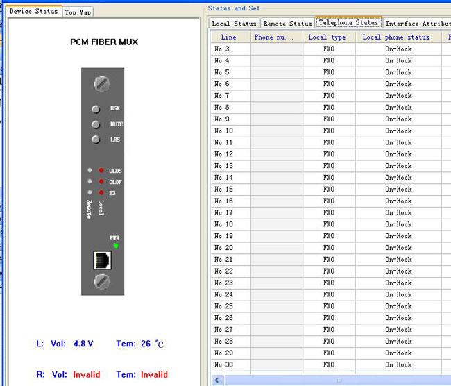voice over fiber multiplexer management screen